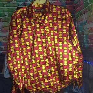 Tops - Ladies Red Yellow Silk Button Down Shirt